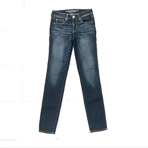 American Eagle super stretch whiskered long jeans